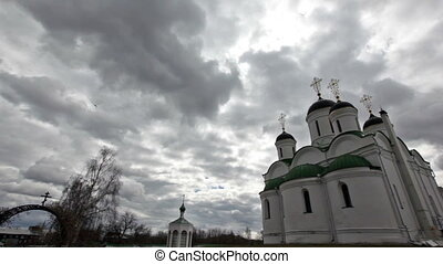 Orthodox Church against the dramatic sky on nasty day