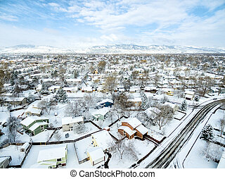 Fort Collins winter cityscape - Fort COllins cityscape -...