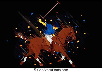 Polo Horse Player - easy to edit vector illustration of polo...