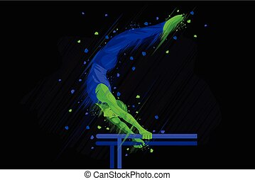 Parallel Bar Gymnast - easy to edit vector illustration of...