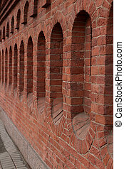 red brick fortress wall background close to