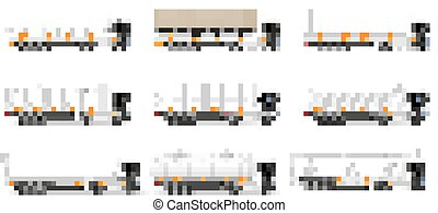 set icons trucks semi trailer vector illustration isolated...