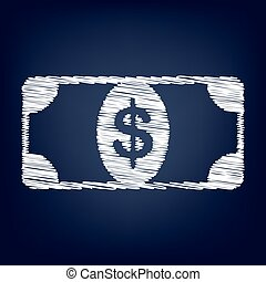 Bank Note dollar sign Chalk effect on blue background