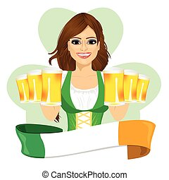 leprechaun girl with beer mugs and irish ribbon, St. Patrick's Day concept