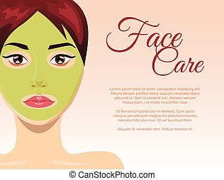 Skin care concept with face clay mask, vector illustration