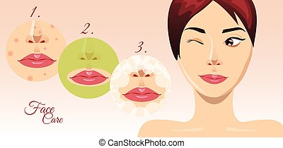 Beautiful woman face in process of acne treatment, vector...