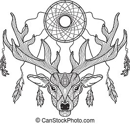 Deer head with horns and dreamcatcher for t-shirt, tattoo,...