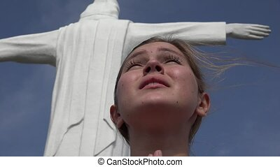Religious Young Woman Praying