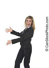young attractive and happy business woman posing confident...