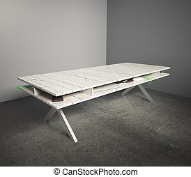 Wooden table in grey room - Light wooden table in an empty...