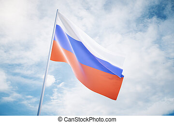 Russian flag on sky background - Waving russian flag...