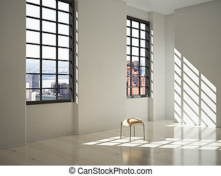 White interior with sunlight - Sunlit interior design with a...