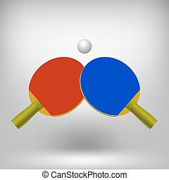 Two Ping Pong Rackets with Ball Realistic Tennis Icon...