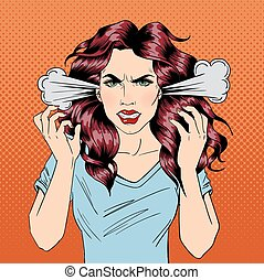 Angry Woman. Furious Girl. Negative Emotions. Bad Days. Bad Mood. Stressful Woman. Comic Background. Pop Art Banner