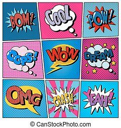Comic Bubbles Set. Expressions Bom, Cool, Pow, Oops, Wow, Dream, Omg, Crash, Yeah. Halftone Background. Pop Art
