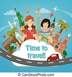 Let's Go Travel. Travel Banner. Travel Industry. Famous World Buildings. Time to Travel. Historical Architecture. Happy Tourist. Man with Backpack. Girl with Map. Vector illustration
