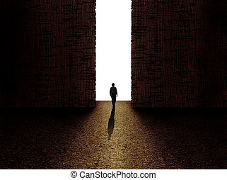 Man standing in front of the exit - Man walking towards the...