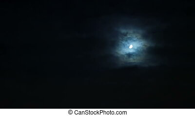 Storm clouds over moon at night on overcast sky