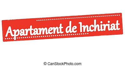 Apartment for rent - Rubber stamp with text apartment for...