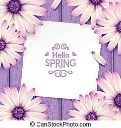 Spring flowers frame composition - Bright spring background...