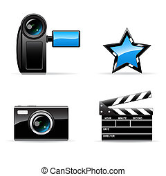 Video and photo icons - Set of vector black video and photo...