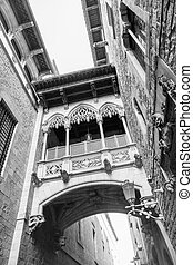 Barri gothic quarter and bridge of sighs - Barri Gothic...