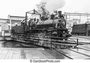 old black steam locomotive in Russia - old black steam...
