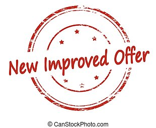 New improved offer - Rubber stamp with text new improved...