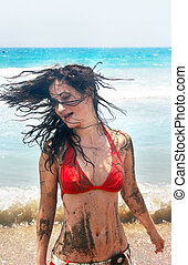 Dirty girl on beach - Pretty dirty brunette girl on beach