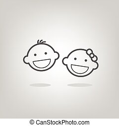 baby face icons - cute simple grey baby face icons of boy...