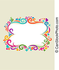 Floral frame - 1 - Colourful vintage frame with floral...
