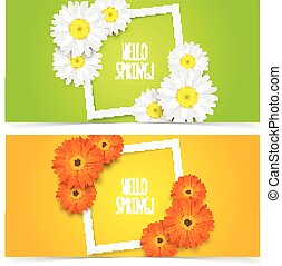 Chamomile flowers frame composition - Bright spring banners...