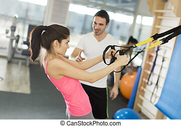 Concept workout healthy lifestyle sport - Women doing push...