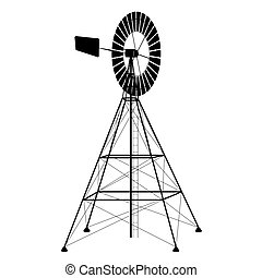 silhouette of a water pumping windmill