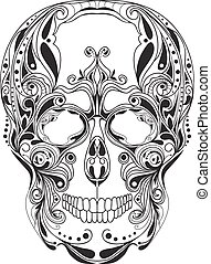 Human skull patterned, ornamental style