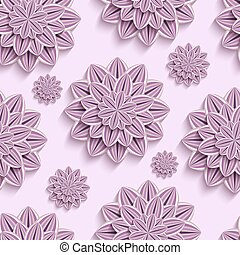 Seamless pattern with purple 3d paper flowers - Beautiful...