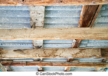 abstract background of a wooden roof canopy