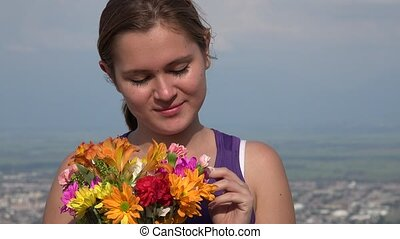 Female Teen Or Woman With Flowers