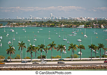 MacArthur causeway in Miami - Scenic landscape of MacArthur...