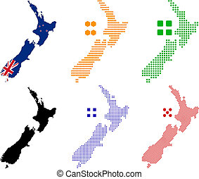 new zealand - Flag,contour and pixel outline of New Zealand