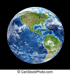 Planet Earth from space showing North & South America, USA....