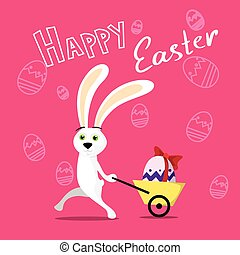 Rabbit Pull Small Cart With Colorful Egg Present Ribbon Sketch Background Happy Easter Holiday Banner