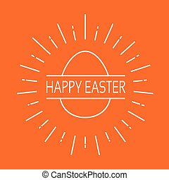 Happy Easter Holiday Sketch Egg Banner Icon