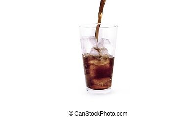 Coke Poured Into Rotating Glass - Delicious coke drink...