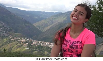 Smiling Woman In Mountains