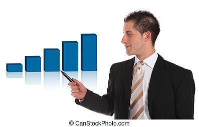 Presenting a positive bar graph - A handsome businessman...