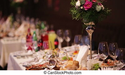 Catering service set  background with food and drinks prepared at restaurant for guests on the occasion of a  wedding.