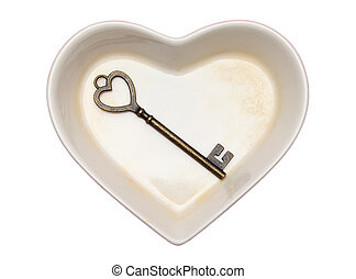 vintage key and heart shape plate isolated on white...