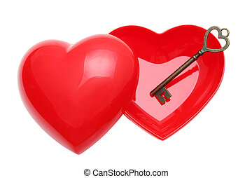 Antique key and a red heart - Antique rusty key and a red...