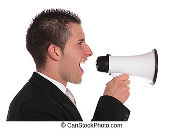 Public notice - A handsome businessman using a megaphone....
